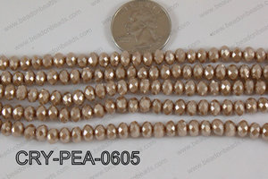 Rondelle Crystal with Pearl Coating Brown 6mm CRY-PEA-0605