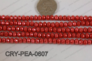 Rondelle Crystal with Pearl Coating Red 6mm CRY-PEA-0607