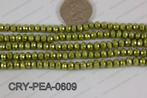 Rondelle Crystal with Pearl Coating Green 6mm CRY-PEA-0609