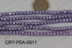 Rondelle Crystal with Pearl Coating Purple 6mm CRY-PEA-0611