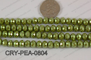 Rondelle Crystal with Pearl Coating Green 8mm CRY-PEA-0804