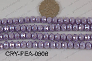 Rondelle Crystal with Pearl Coating Purple 8mm CRY-PEA-0806