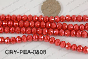 Rondelle Crystal with Pearl Coating Red 8mm CRY-PEA-0808