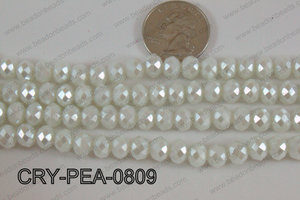 Rondelle Crystal with Pearl Coating White 8mm CRY-PEA-0809