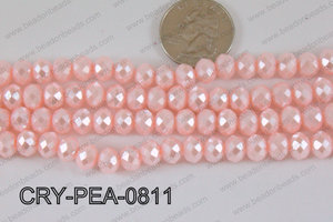 Rondelle Crystal with Pearl Coating Pink 8mm CRY-PEA-0811