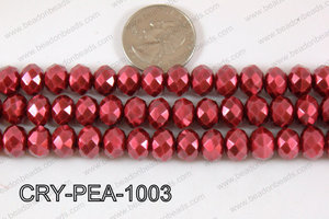 Rondelle Crystal with Pearl Coating Dark Red 10mm CRY-PEA-1003