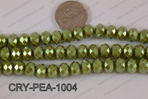 Rondelle Crystal with Pearl Coating Green 10mm CRY-PEA-1004
