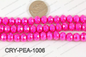 Rondelle Crystal with Pearl Coating Hot Pink 10mm CRY-PEA-1006