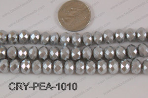 Rondelle Crystal with Pearl Coating Silver 10mm CRY-PEA-1010