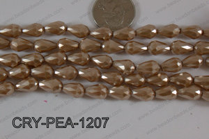 Teardrop Crystal with Pearl Coating Faceted Brown 8x12mm CRY-PEA