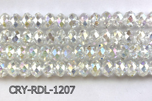 Angelic Crystal Faceted Rondel 12mm 10'' CRY-RDL-1207