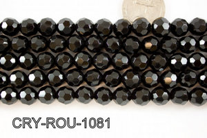 Angelic Crystal Faceted Round 10mm 32Cut Black 14'' CRY-ROU-1081