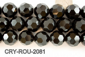 Angelic Crystal Faceted Round 20mm 32Cut Black 14'' CRY-ROU-2081