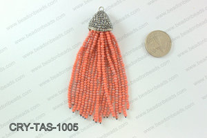Crystal tassels with rhinestone cap 20x100mm CRY-TAS-1005