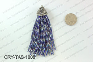 Crystal tassels with rhinestone cap 20x100mm CRY-TAS-1008