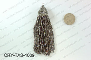 Crystal tassels with rhinestone cap 20x100mm CRY-TAS-1009
