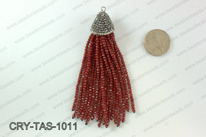 Crystal tassels with rhinestone cap 20x100mm CRY-TAS-1011