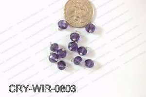 Wired Crystal Rondel 8mm Purple CRY-WIR-0803