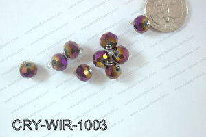 Wired Crystal Rondel 10mm Purple Metallic CRY-WIR-1003