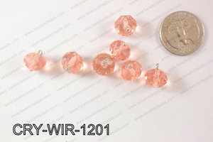 Wired Crystal Rondel 12mm Peach CRY-WIR-1201