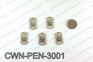 Crown Pendant Badge 30x28mm, Silver CWN-PEN-3001