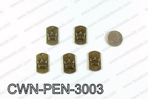 Crown Pendant Badge 30x28mm, Bronze CWN-PEN-3003