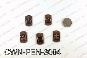 Crown Pendant Badge 30x28mm, Copper CWN-PEN-3004