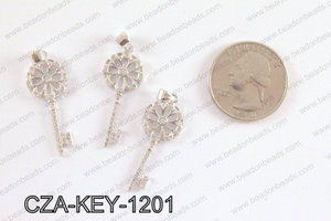 CZ  Key Micro Pave Pendant 12x35MM CZA-KEY-1201