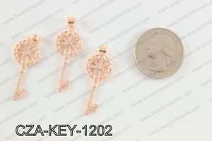 CZ  Key Micro Pave Pendant 12x35MM CZA-KEY-1202