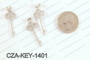 CZ  Key Micro Pave Pendant 14x38MM CZA-KEY-1401