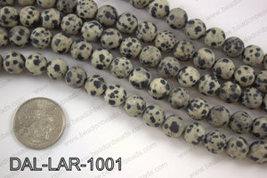 Large hole dalmation jasper matte round 10mm DAL-LAR-1001