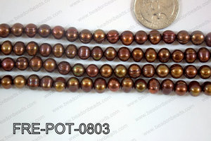 Freshwater Pearl Potato Brown  7-8mm FRE-POT-0803