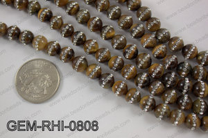 Tiger eye  with cubic zirconia stones 8mmGEM-RHI-0808