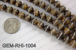 Tiger eye  with cubic zirconia stones 10mmGEM-RHI-1004