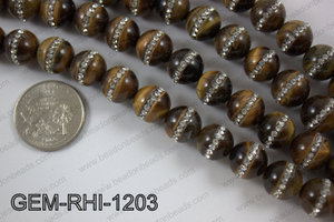Tiger eye  with cubic zirconia stones 12mmGEM-RHI-1203