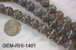 Agate with cubic zirconia stones 14mmGEM-RHI-1401