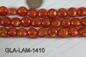 Glass Lampwork Coin Red 14mm GLA-LAM-1410