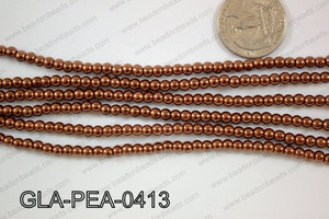 Glass Pearl Round 4mm Brown GLA-PEA-0413