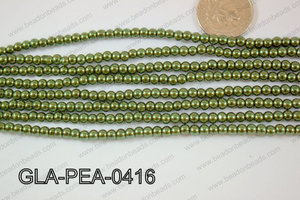 Glass Pearl Round 4mm Dark Green GLA-PEA-0416