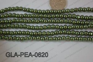 Glass Pearl Round 6mm D Green GLA-PEA-0620