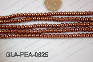 Glass Pearl Round 6mm Brown GLA-PEA-0625