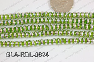 Glass Rondelle 6mm green GLA-RDL-0624