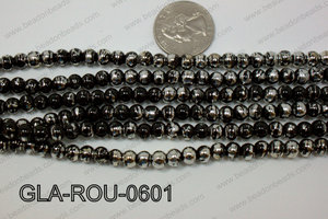 Glass Round Black and Silver 6mm GLA-ROU-0601