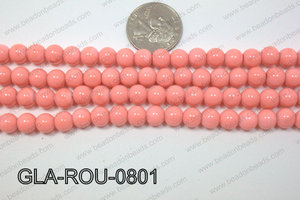 Glass Round Peach 8mm GLA-ROU-0801