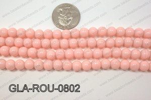 Glass Round Light Pink 8mm GLA-ROU-0802