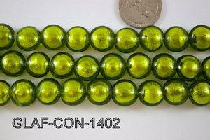 Foil Glass Bead Coin 14mm 20pcs GLAF-CON-1402