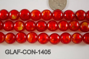 Foil Glass Bead Coin 14mm 20pcs GLAF-CON-1405