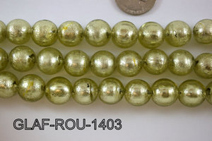 Foil Glass Bead Round 14mm 20pcs GLAF-ROU-1403