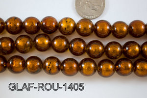 Foil Glass Bead Round 14mm 20pcs GLAF-ROU-1405