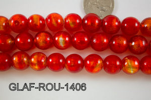 Foil Glass Bead Round 14mm 20pcs GLAF-ROU-1406
